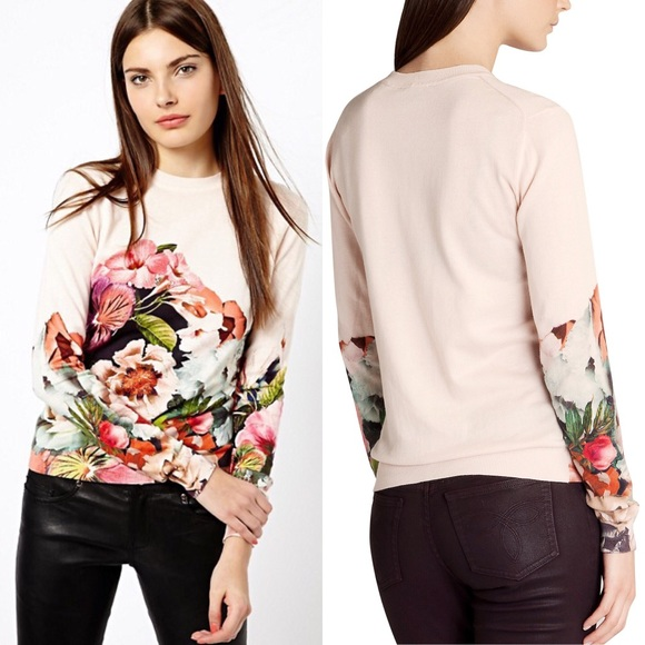 60e7573f4  Ted Baker  Tangled Floral Print Cotton Sweater. M 5b24a48045c8b34c79775491